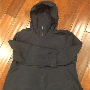 Eileen Fisher Black Hooded Cotton Nylon Jacket